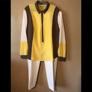 ND white pants and color combo top XL